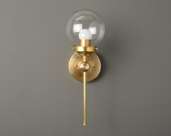 Modern Globe Wall Light - Raw Brass - Mid Century - Industrial - Glass Globe - Bathroom Vanity - UL Listed [PIERSON]