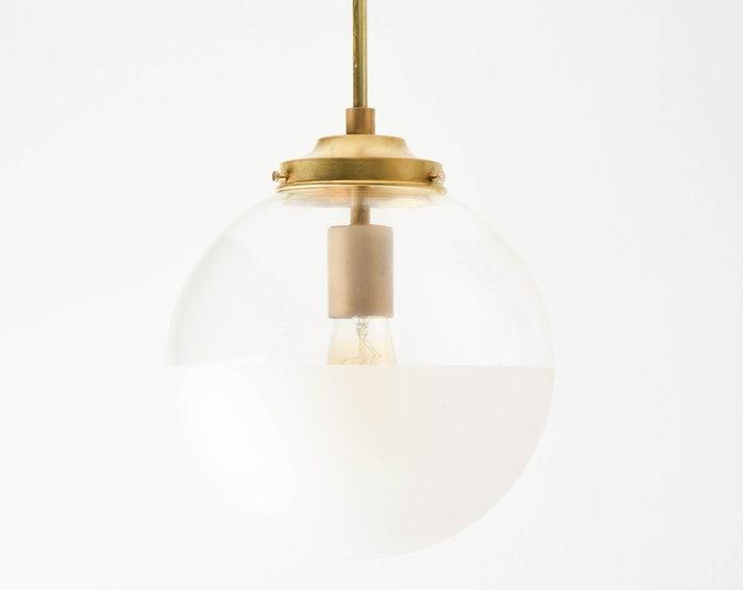 Globe Pendant Light - Raw Brass - Mid Century - Modern - Industrial - Half Frosted - 10 inch - Glass Globe [ASTORIA]