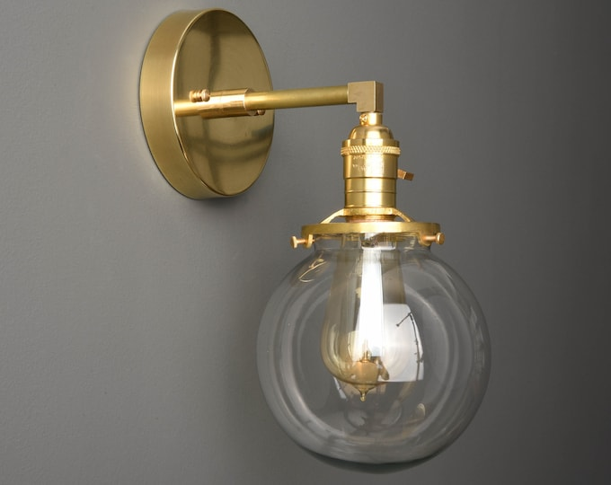 Wall Sconce - Raw Brass - Mid Century - Modern - Industrial - Wall Light - Clear Glass Globe - Bathroom Vanity - UL Listed [TELLURIDE]