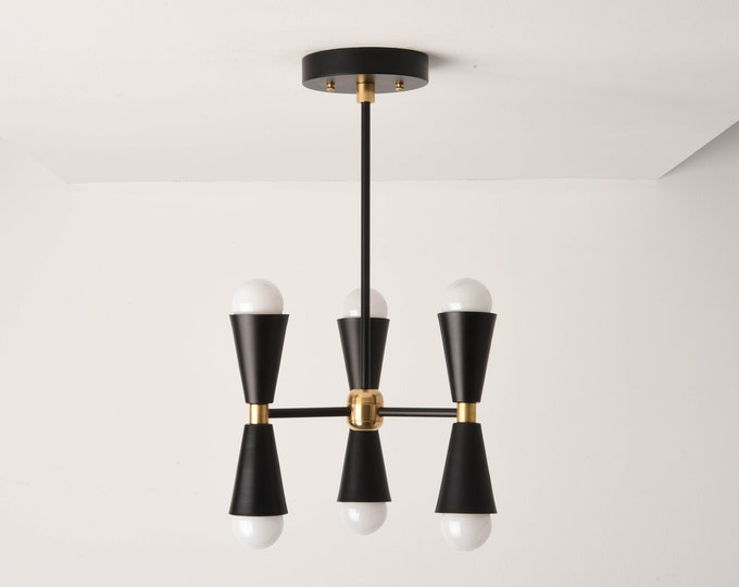 Chandelier Lighting - Black & Brass - Mid Century Hanging Light - Industrial - Modern - Hall Light - UL Listed [KATHMANDU]