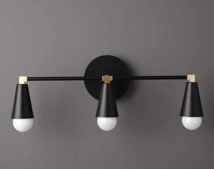 Modern Bathroom Light - Wall Sconce - Black & Brass - Mid Century - Industrial - Wall Light - Bathroom Vanity - UL Listed [AURORA]