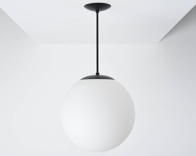 Globe Pendant Light - Matte Black - Mid Century Modern - Industrial - Neckless Matte White Globe - UL Listed [PIERRE]