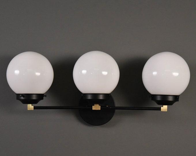 Wall Sconce Black & Brass - Mid Century - Modern - Industrial - Wall Light - White Glass Globe - Bathroom Vanity - UL Listed [FRISCO]