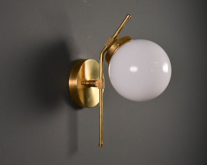 Wall Sconce - Raw Brass - Mid Century - Modern - Industrial - Wall Light - Glass Globe - Bathroom Vanity - Art Light - UL Listed [ERIE]