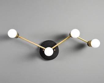 Milano Wall Sconce [Black & Brass - Mid Century - Modern - Industrial - 4 Light - Constellation - Vanity - Bathroom - UL Listed]