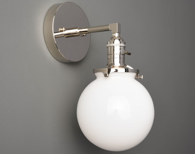 Wall Sconce - Polished Nickel - Mid Century - Modern - Industrial - Wall Light - White Glass Globe - Bathroom Vanity - UL Listed [TELLURIDE]