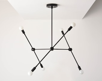 Sputnik Chandelier - Black Modern Lighting - Mid Century - Industrial - Branching Chandelier - Ceiling Light - UL Listed [BALTIMORE]
