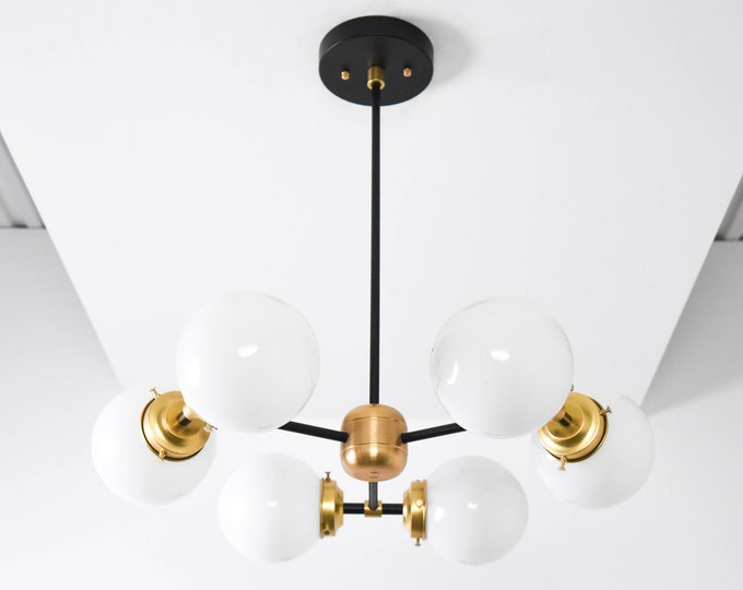 Chandelier - Black & Brass - Mid Century - Industrial - Modern - Candelabra - 3 Arm - 6 Light - White Globe - Bubbly - UL Listed [BARCELONA]