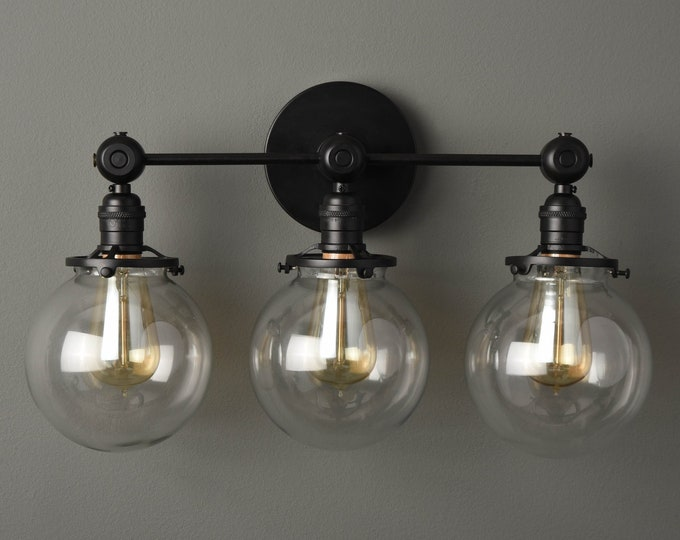 Bathroom Vanity Light - Modern Wall Sconce - Matte Black - Mid Century - Industrial - Glass Globes - Wall Light - UL Listed [PENSACOLA]