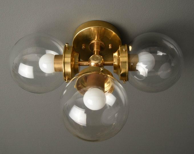 Bathroom Vanity Sconce - Modern Wall Light - Raw Brass - Mid Century - Modern - Industrial - Glass Globes - UL Listed [BASCOM]