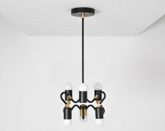 Ripon Pendant Light [Black & Brass - Mid Century - Modern - Industrial - Abstract - 6 Bulb - 6 Light - Hanging Light - UL Listed]