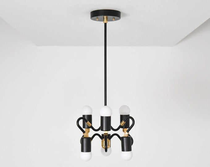 Black & Brass Mix Pendant Light Abstract 6 Bulb Mid Century Edison Industrial Hanging Light Lighting