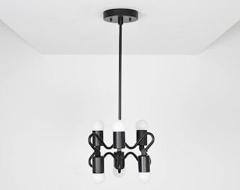 Ripon Pendant Light [Matte Black - Mid Century - Modern - Industrial - Abstract - 6 Bulb - 6 Light - Hanging Light - UL Listed]