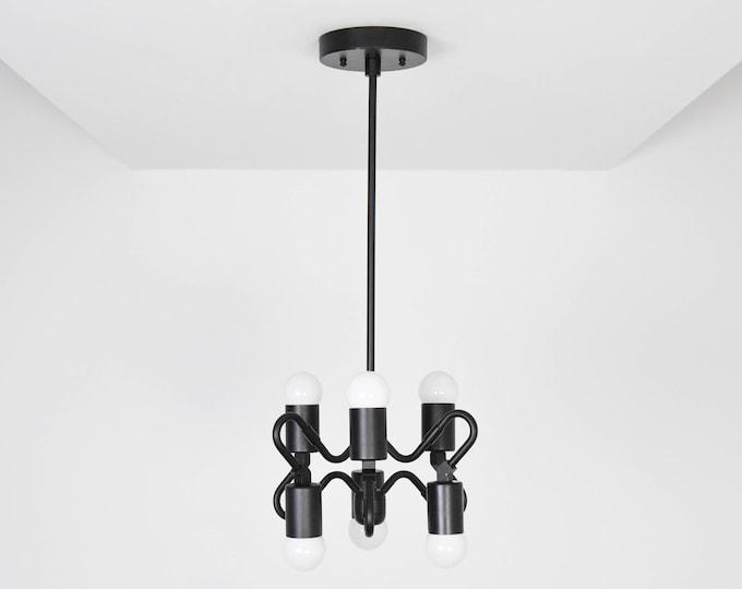 Pendant Light - Matte Black - Mid Century - Modern - Industrial - Abstract - Hanging Light - UL Listed [RIPON]