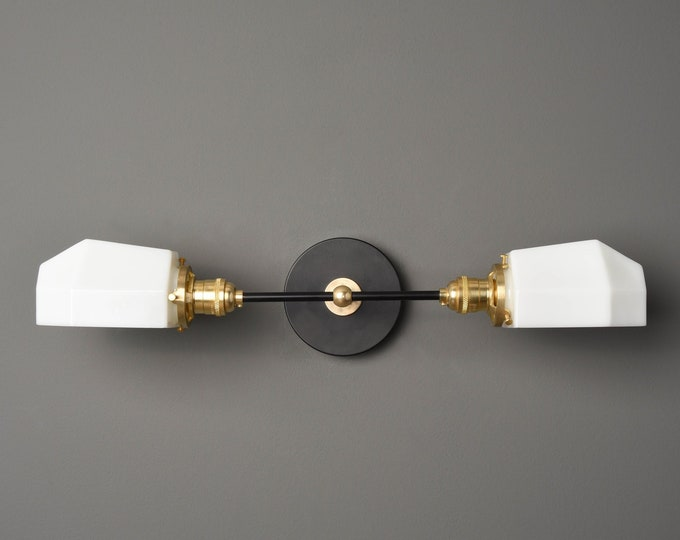 Wall Sconce - Black & Brass - Mid Century - Modern - Industrial - White Opal Geometric Globe - Bathroom Vanity - UL Listed [AMHERST]
