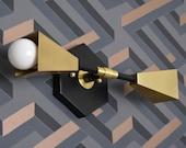 Industrial Vanity Light - Black & Brass - Mid Century - Industrial - Modern - Wall Light - Hexagon - Bathroom Vanity - UL Listed [BELFAST]
