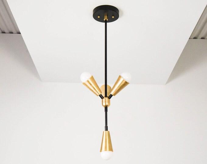 Pendant Light - Black & Brass - Mid Century - Modern - Industrial - Cone Cover - Vanity - UL Listed [RIALTO]