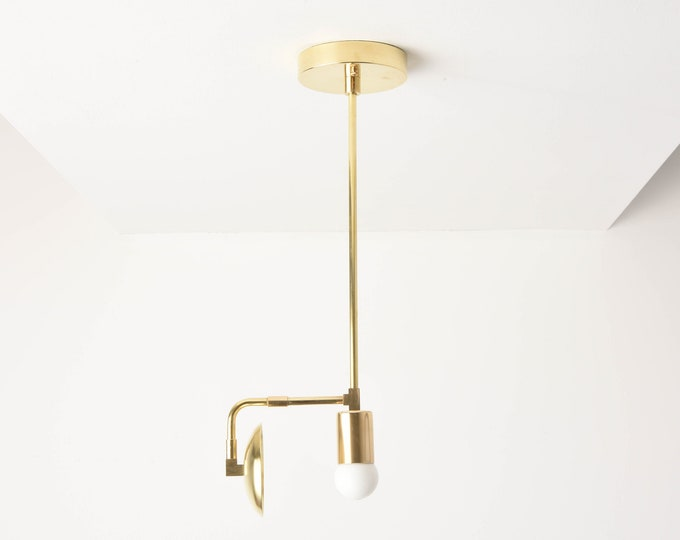 Pendant Light - Raw Brass - Mid Century - Modern - Industrial - Curved Shade - Cylindrical Cover - Vanity - UL Listed [ABBOTT]