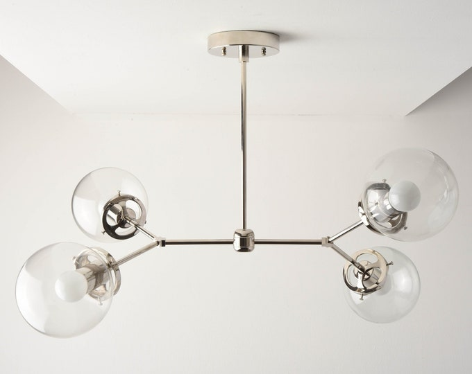 Modern Chandelier - Polished Nickel - Mid Century Hanging Light - Globe Lighting - Industrial - Sputnik - Clear Globe - UL Listed [ATLANTA]