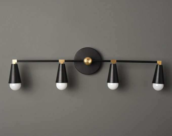 Industrial Wall Sconce - Modern Wall Light - Black & Brass - Mid Century - Bathroom Vanity - UL Listed [AUBURN]