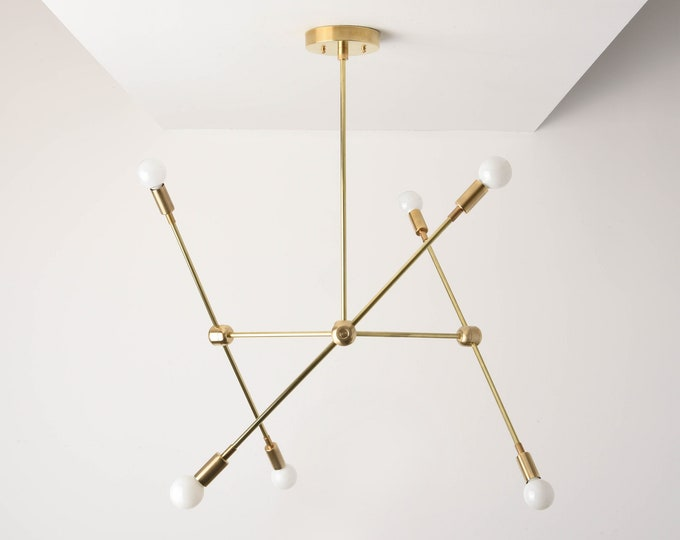 Sputnik Chandelier - Raw Brass - Mid Century - Industrial - Modern - Branching Chandelier - Ceiling Light - UL Listed [BALTIMORE]