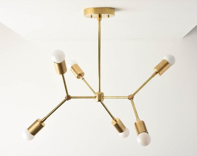 Sputnik Chandelier - Raw Brass - Mid Century - Industrial - Modern - Ceiling Light - Branching Chandelier - UL Listed [PORTLAND]