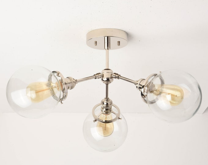 Modern Globe Chandelier - Nickel Sputnik Light - Hanging Light - Mid Century - Industrial - Pinwheel - Clear Globe - Edison [VANCOUVER]