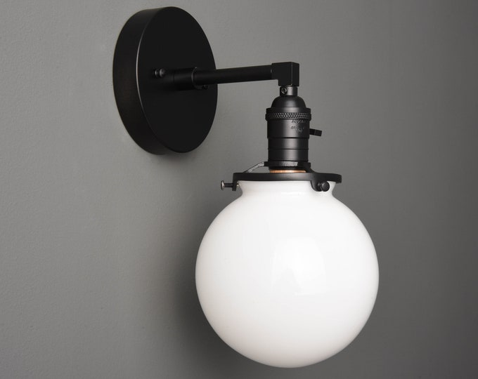 Wall Sconce - Matte Black - Mid Century - Modern - Industrial - Wall Light - White Glass Globe - Bathroom Vanity - UL Listed [TELLURIDE]