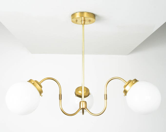 Chandelier - Raw Brass - Mid Century - Industrial - Modern - 3 Arm - White Globe - Large - Hanging - UL Listed [AMSTERDAM]