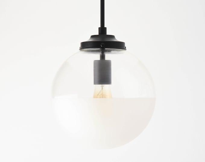 Globe Pendant Light - Matte Black - Mid Century - Modern - Industrial - Half Frosted - 10 inch - Glass Globe [ASTORIA]