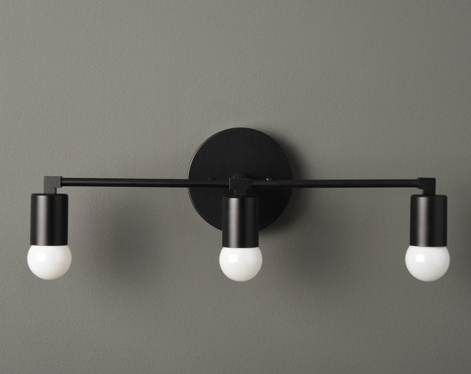 Vanity Lighting - Wall Sconce - Matte Black - Mid Century - Modern - Industrial - Wall Light - Bathroom Vanity - UL Listed [AVON]