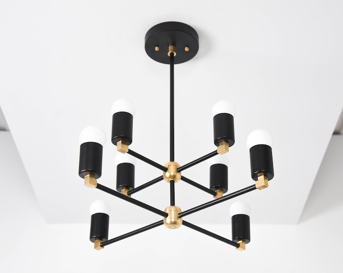 Sputnik Chandelier - Black & Brass - Mid Century Hanging Light - Industrial - Modern - Dining Room Light - Ceiling Light - UL Listed [ROME]