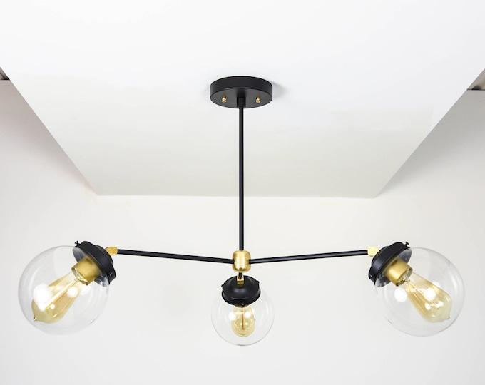 Mid Century Chandelier Light - Raw Brass - Industrial - Modern - Sputnik - Pinwheel - Clear Globe - Hanging - UL Listed [ORLANDO]