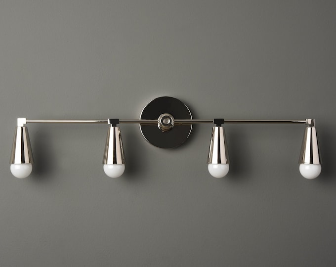 Nickel Vanity Sconce - Modern Light Fixture - Minimal - Industrial Wall Light - Mid Century - Bathroom Vanity - UL Listed [AUBURN]