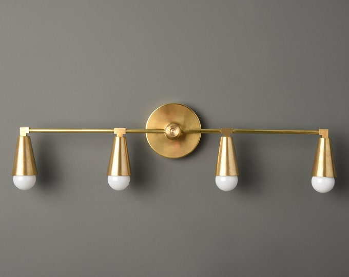 Gold Modern Light - Minimal Sconce - Minimal - Industrial Wall Sconce - Mid Century - Bathroom Vanity - UL Listed [AUBURN]