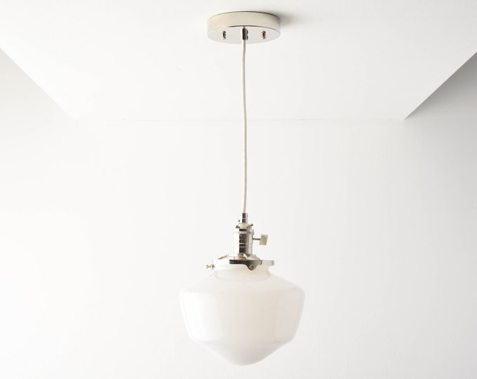 Pendant Light - Polished Nickel - Mid Century - Modern - Industrial - Schoolhouse Glass Globe - Cloth Wire - Ceiling Canopy [AUGUSTA]