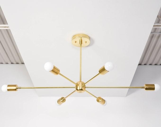 Washington Chandelier [Raw Brass - Mid Century - Industrial - Modern - Sputnik - Pinwheel - Large - Lighting - Starburst - UL Listed]
