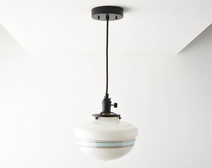 Pendant Light - Matte Black - Mid Century - Modern - Industrial - Turquoise Blue - Painted Banding - Schoolhouse Glass Globe [SUMNER]