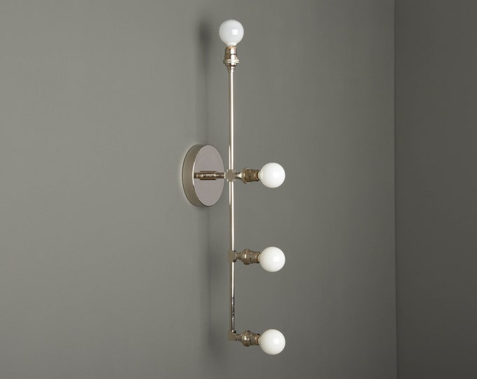 Modern Bathroom Light - Wall Sconce - Polished Nickel - Mid Century - Modern - Industrial - Vertical - Wall Light - UL Listed [INVERNESS]