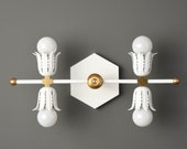 Modern Wall Sconce - Matte White & Brass - Mid Century - Industrial - Floret - Bathroom Vanity - UL Listed [ALICE]