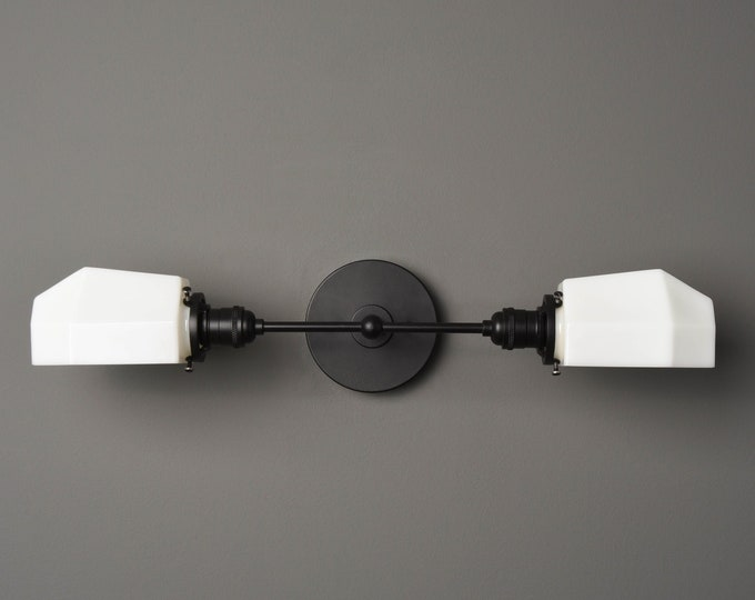 Wall Sconce - Matte Black - Mid Century - Modern - Industrial - White Opal Geometric Globe - Bathroom Vanity - UL Listed [AMHERST]