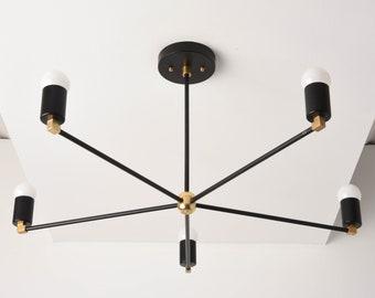 Chandelier - Black & Brass - Mid Century - Industrial - Modern - Large - Light - 30 inch - 5 Arm - Pinwheel - Sputnik - UL Listed [OSLO]