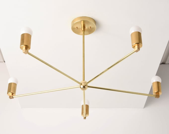 Modern Chandelier Light - Gold Sputnik Light - Mid Century - Industrial - Large - Brass - Light - Pinwheel - Sputnik - UL Listed [OSLO]