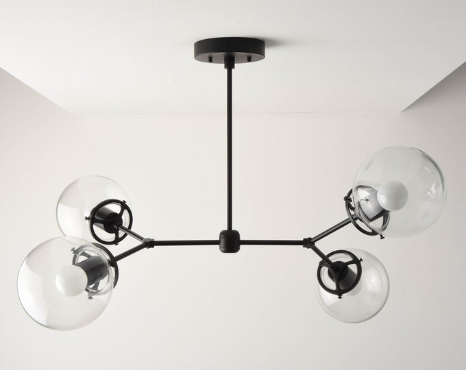 Modern Globe Chandelier - Modern Hanging Light - Matte Black - Mid Century - Industrial - Modern - Sputnik - UL Listed [ATLANTA]