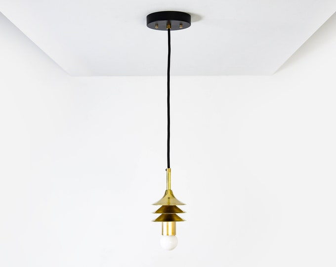 Black & Brass Pendant Light Trumpets Cylindrical Covers Vanity Modern Mid Century Industrial