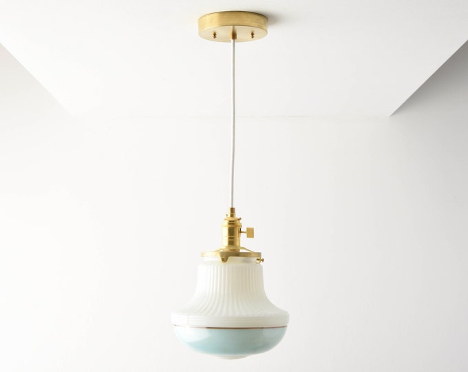 Pendant Light - Raw Brass - Mid Century - Modern - Industrial - Art Deco - Turquoise Blue - Painted Banding Glass Globe [DUVALL]