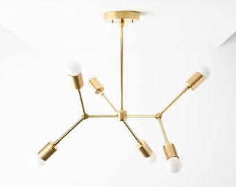 Gold Hanging Light - Chandelier Lighting - Sputnik - Mid Century - Industrial - Modern - Hall Light - UL Listed [PORTLAND]