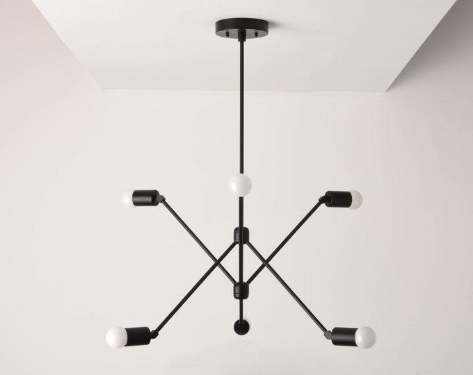 Havana Chandelier [Matte Black - Mid Century - Industrial - Modern - Sputnik - Pinwheel - 6 Arm - 6 Light - Hanging - Light - UL Listed]