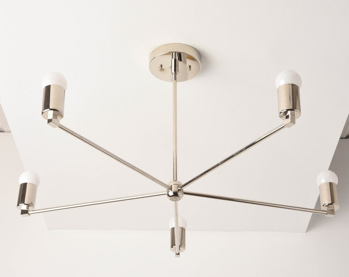 Chandelier - Polished Nickel - Mid Century - Industrial - Modern - Large - Light - 30 inch - 5 Arm - Pinwheel - Sputnik - UL Listed [OSLO]
