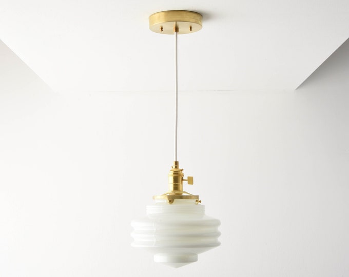 Pendant Light - Raw Brass - Mid Century - Modern - Industrial - White - Art Deco - Opal - Handblown Glass Globe [ANCHORAGE]